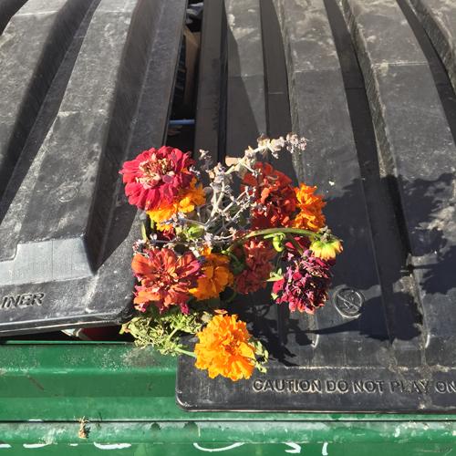 birthday bouquet trash